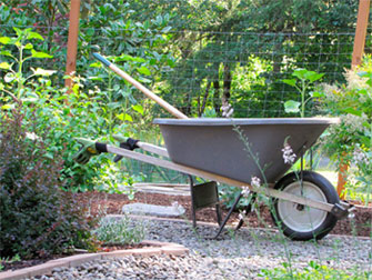 The garden wheelbarrow.